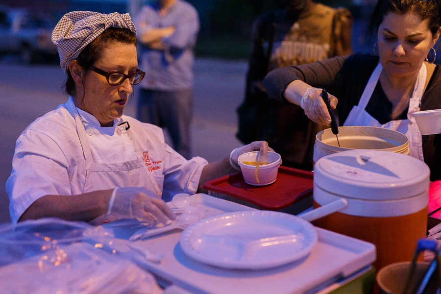 Joan Cheever prepares soup for donation. Photo by Scott Ball.