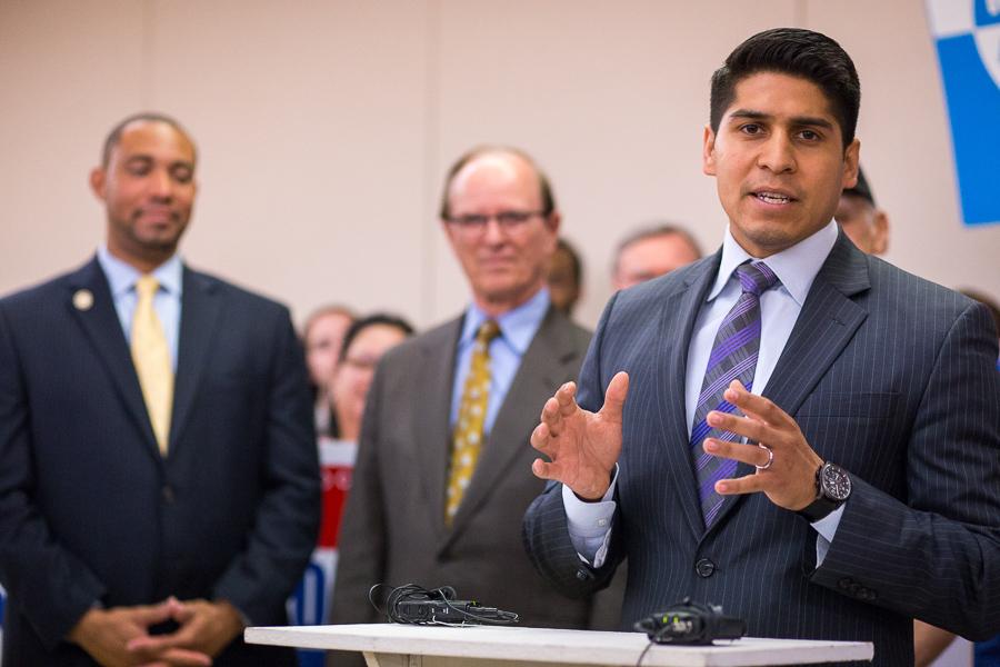 Council member (D4) Rey Saldana gives a prepared speech. Photo by Scott Ball.