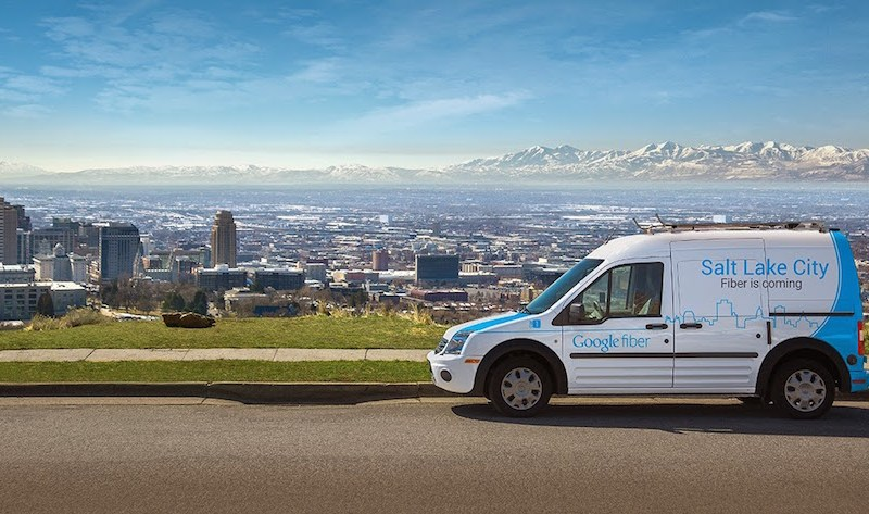 The Google Fiber van in Salt Lake City. Courtesy image from Google Fiber Blog.