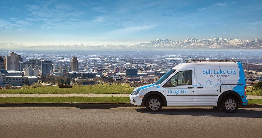 The Google Fiber van in Salt Lake City. Courtesy image from Google Fiber Blog.