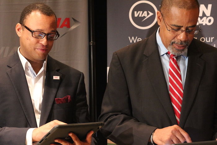 VIA board members Marc Harrison and Lester Bryant take the Vision 2040 online survey. Photo by Joan Vinson.