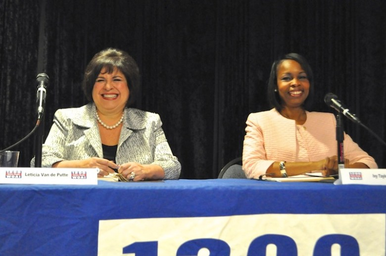 Leticia Van de Putte and Mayor Ivy Taylor smile and chat with audience members at their last mayoral forum. Photo by Iris Dimmick.