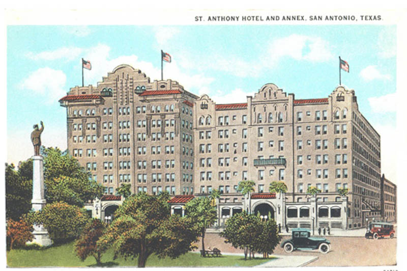 A historic postcard for the St. Anthony Hotel.