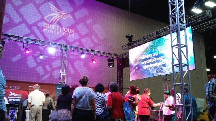 Attendees of the 2015 Seventh-day Adventist World General Conference Session enjoy the expo part of the event on Thursday, July 2, 2015, at the the Henry B. Gonzalez Convention Center.  Photo by Edmond Ortiz