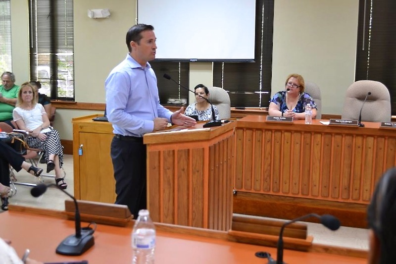 Niagara Bottling's Executive Vice President of Legal Brian Hess speaks to Seguin City Council on Tuesday. Photo courtesy of the City of Seguin's Facebook page.