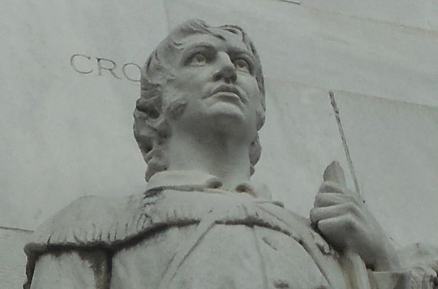 Crockett epitomizes the 'Spirit of Sacrifice' on the downtown cenotaph by sculptor Pompeo Coppini. Photo by Don Mathis.