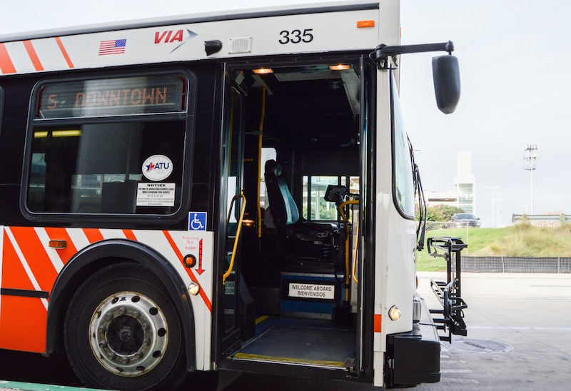 The VIA #5 McCullough stops at the far West end of Terminal B to pick up and deposit riders at the San Antonio International Airport. Photo by Lea Thompson.