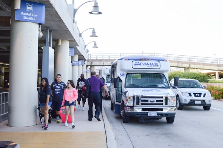 The majority of out-of-town travelers opt for the speed and convenience of hotel shuttles and car rentals over the VIA route #5, which takes riders from the San Antonio International Airport to downtown. Photo by Lea Thompson.