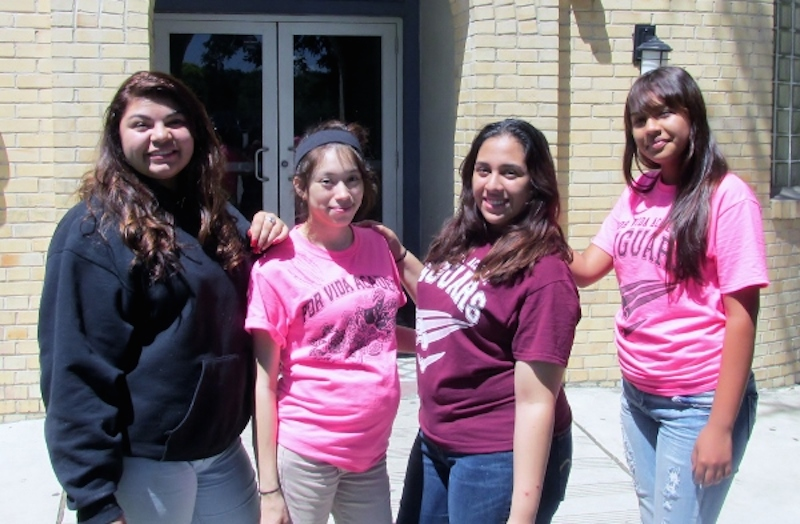 Members of Xinachtli—a young women's character development program at Por Vida Academy Charter High School—recently led a campaign against cyberbullies. Courtesy photo.