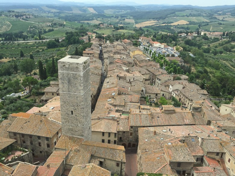 View from atop a tower in the medieval walled town of San Gimignano. Photo by Robert Rivard