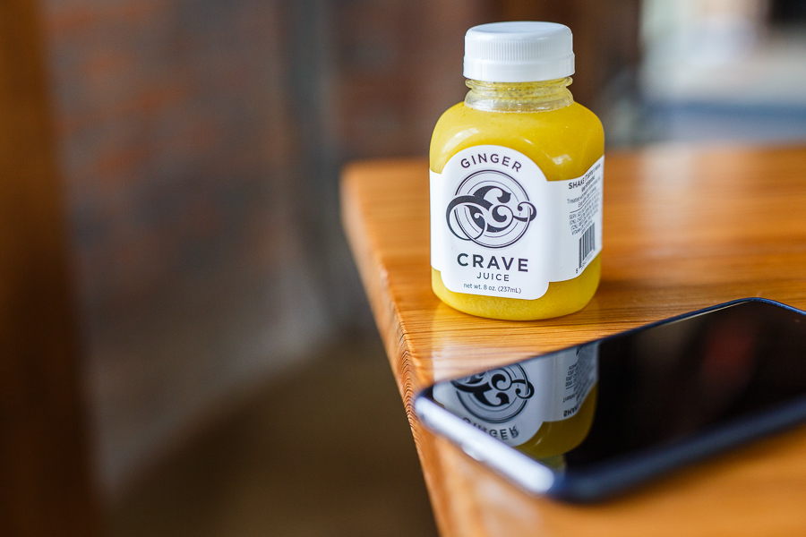 Ginger Crave Juice served at Rosella Coffee Company. Photo by Scott Ball.