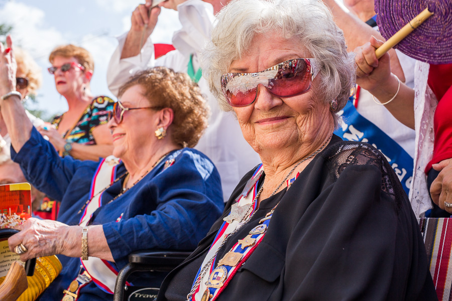 Daughter of the Republic Nelma Walkinson smiles during the ceremony. Photo by Scott Ball.