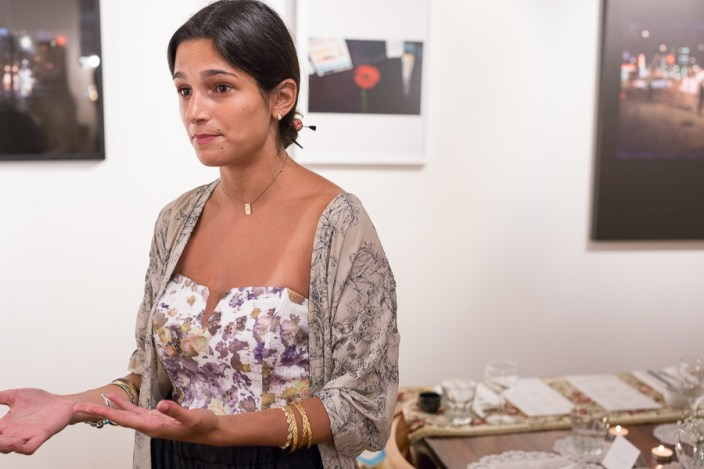 Faith Haddad speaks to a reporter about Haus Collective. Photo by Scott Ball.