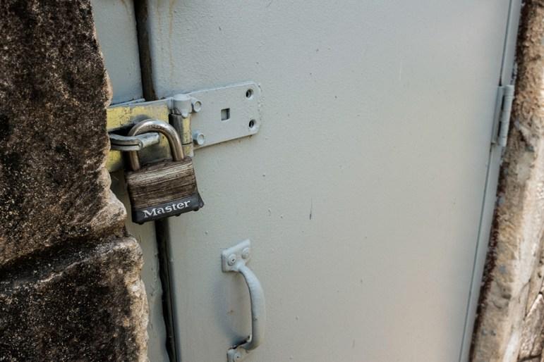 A locked restroom door at Maverick Park. Photo by Scott Ball.