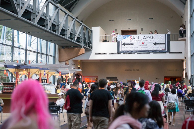 Hundreds of San Japan attendees fill a busy room at the Henry B. Gonzalez Convention Center. Photo by Scott Ball.