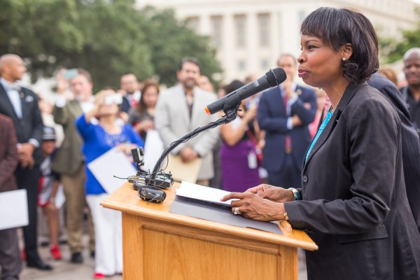Mayor Ivy Taylor gives a speech during the World Heritage Inscription.  Photo by Scott Ball.