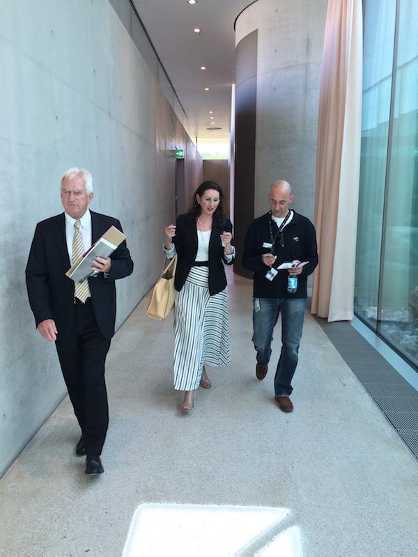 Sherry Dowlatshahi and two Aerospace Center executives