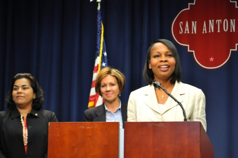Mayor Ivy Taylor (right) announces the reaffirmation of the City's Triple A credit rating as City Manager Sheryl Sculley (center) and Councilmember Rebecca Viagran (D3) look on. Photo by Iris Dimmick.