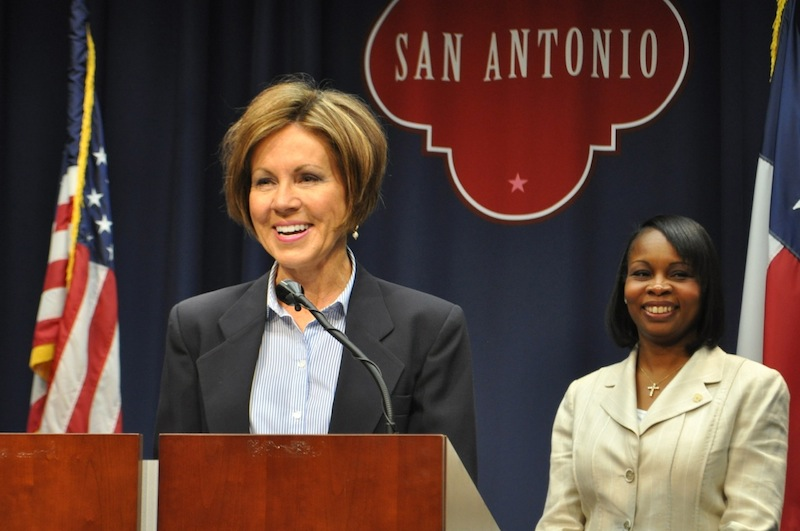 City Manager Sheryl Sculley (left) and Mayor Ivy Taylor smile after announcing the City's reaffirmed Triple A bond rating. Photo by Iris Dimmick.