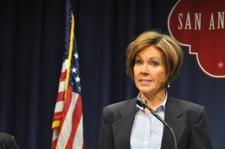 City Manager Sheryl Sculley explains how the City's credit rating effects its ability to take out low-interest loan. Photo by Iris Dimmick.