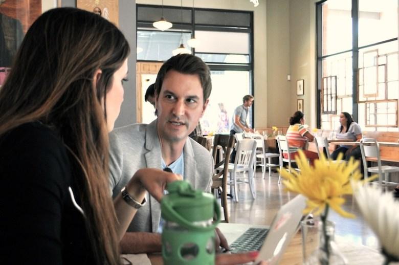TechBloc board member David Heard (right) meets with TechBloc Executive Director Marina Gavito. Photo by Iris Dimmick.