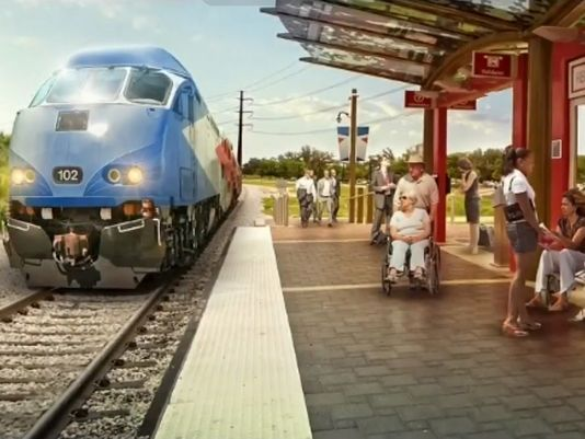 Rendering of a Lone Star Rail (LSTAR) stop in San Marcos. Courtesy of LSRD.