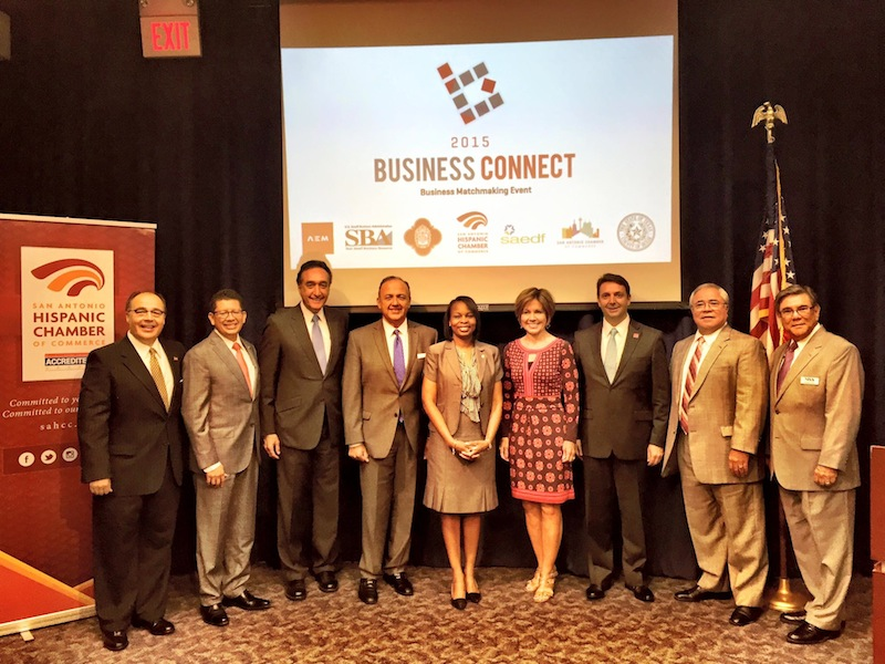 San Antonio Hispanic Chamber of Commerce President and CEO Ramiro A. Cavazos, San Antonio Chamber of Commerce Richard Perez, former Mayor Henry Cisneros, SAHCC Board Chair Al Aguilar, Mayor Ivy Taylor, City Manager Sheryl Sculley, Luxury Home Magazine owner Tomas Martinez, SAEDF President Mario Hernandez, and U.S. Small Business Administration District Director Anthony Ruiz pose for a photo after the launch of the Business Connect initiative. Photo courtesy of SAHCC's facebook.