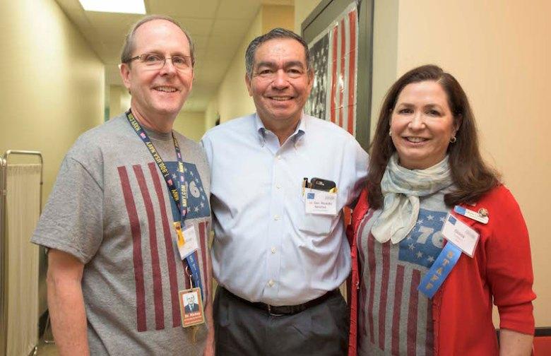 Dr. David Rickey, dental services director, (Retired) General Ricardo Sanchez, Gloria Canseco, executive director. Photo by Paola Longoria.