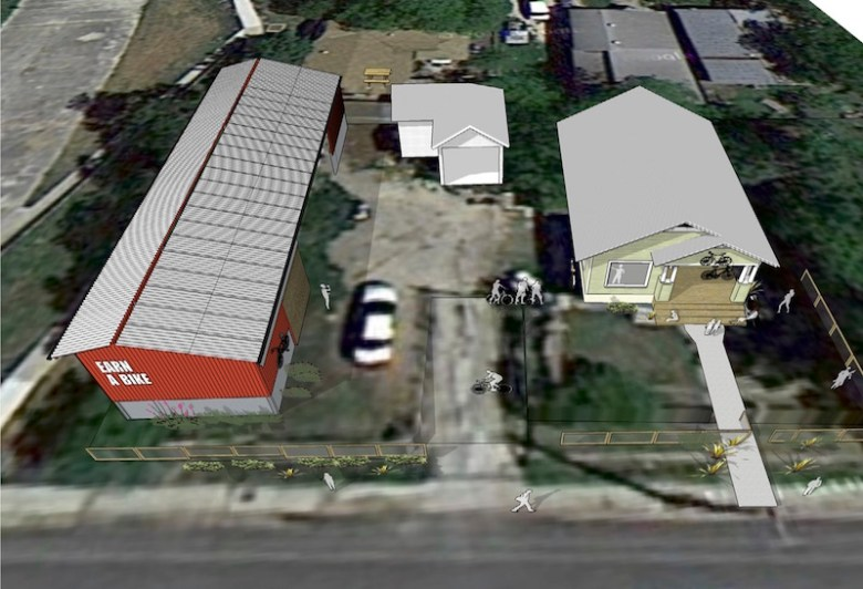 An aerial view of Earn-A-Bike Co-op's expansion plans for BScuela. Image courtesy of Urbanist Design.