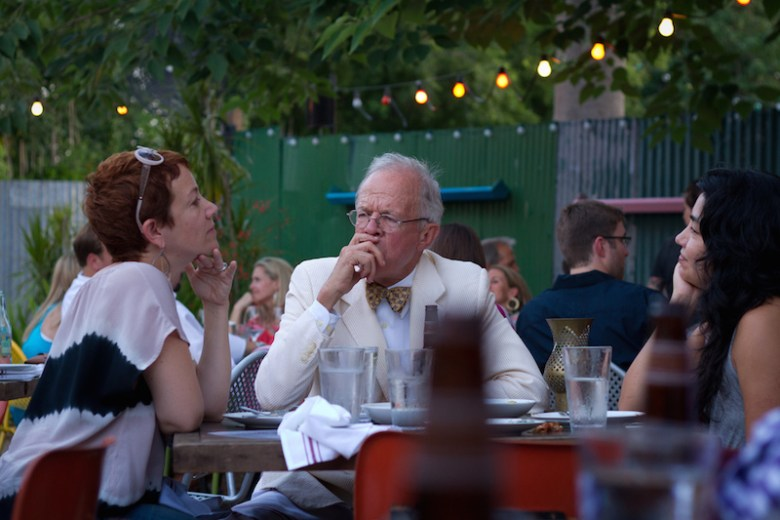 "Elaine Wolff, ""Mayor of Southtown"" Mike Casey, and Xelina Flores enjoy The Monterey's patio. Photo by Nan Palmero."