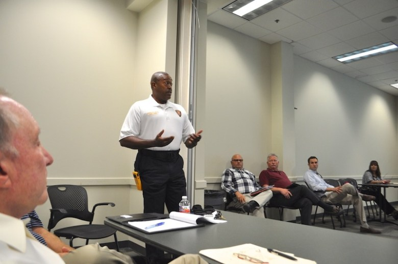 SAFD Chief Charles Hood speaks during the high-rise fire sprinkler stakeholder meeting on July 22, 2015. Photo by Iris Dimmick.