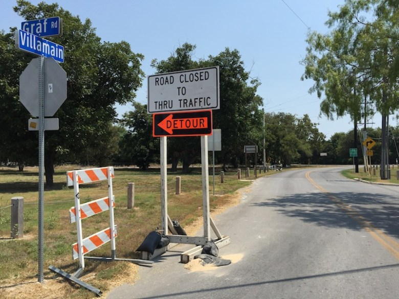 Villamain Road closed at Graf Road near Mission San Juan. Photo by Robert Rivard