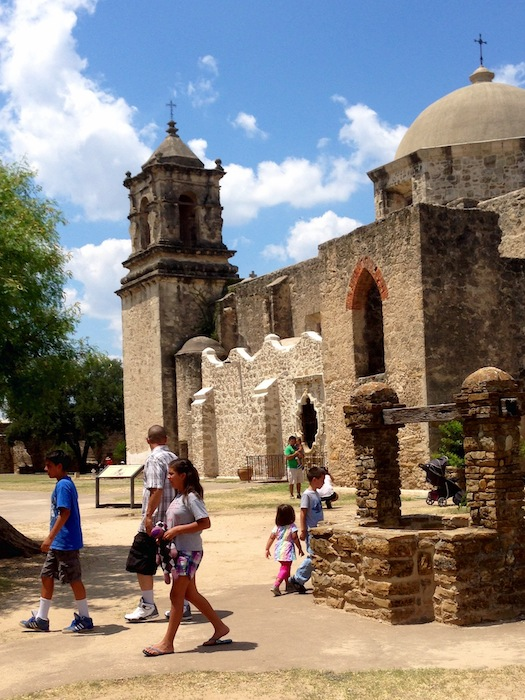The Griffin family visits Mission San Jose. Photo by Lorna Griffin.