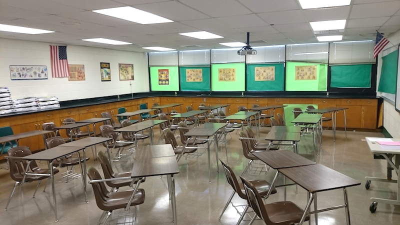 Starting Monday, this classroom in Edgewood ISD will be filled with young minds. Photo by Matthew Lynde Chesnut.