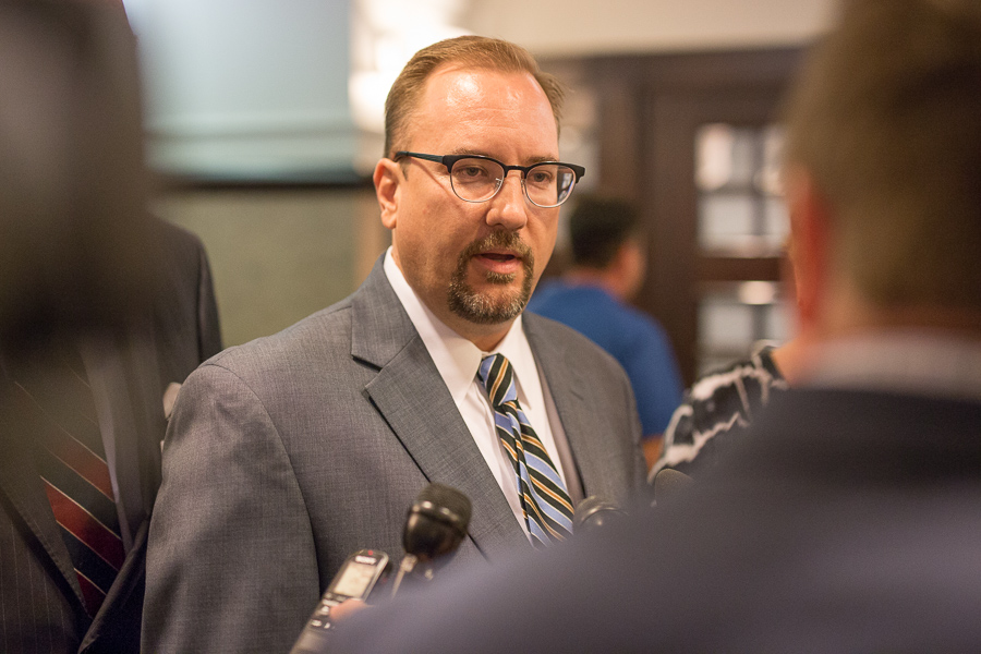 UIW attorney Matthew F. Wymer speaks to reporters after an appeal hearing. Photo by Scott Ball.