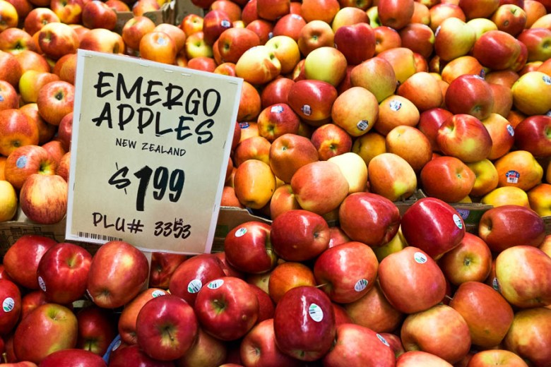 Emergo apples imported from New Zealand are displayed at Central Market in Alamo Heights. Photo by Scott Ball.