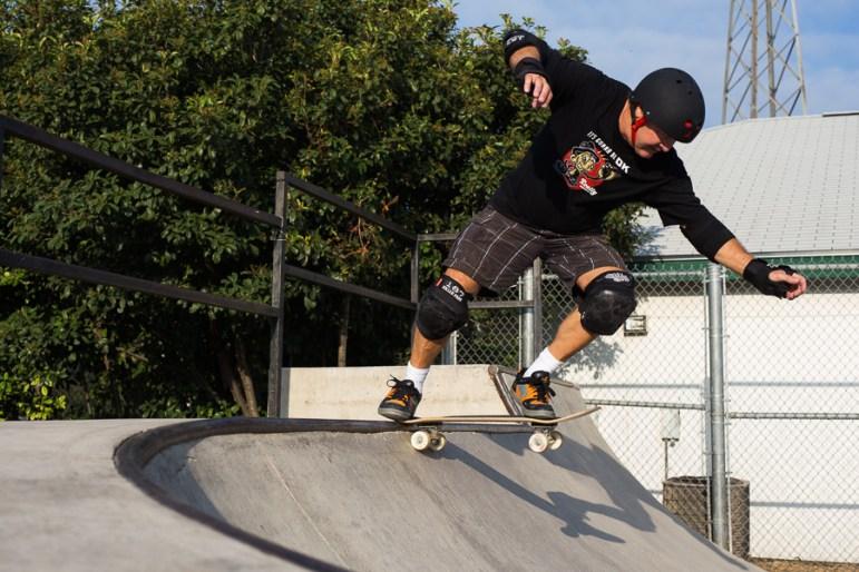Gary Sweeney drops in at Lady Bird Johnson skate park. Photo by Scott Ball.