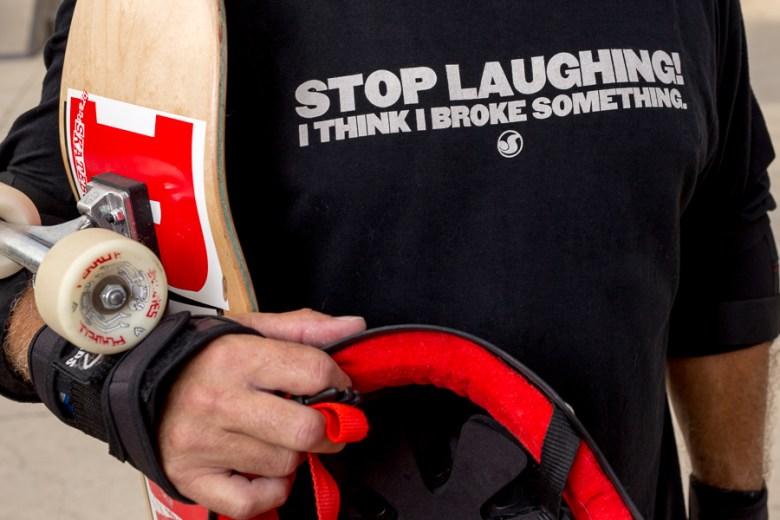 Gary Sweeney's hilariously accurate tee shirt. Photo by Scott Ball.
