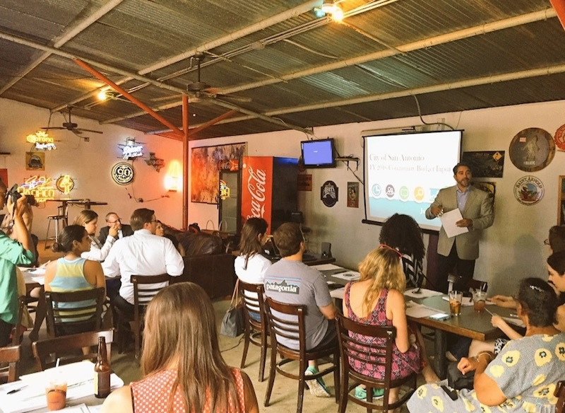 Councilmember Robert Treviño gives a budget overview at The Friendly Spot. Courtesy photo.