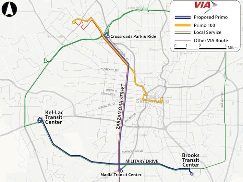 The South/West corridor. Image courtesy of VIA Metropolitan Transit.