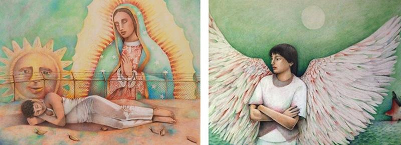 "Works by Liliana Wilson from left: ""El color de la esperanza (The color of hope),"" 1987, color pencil on paper, 16 1/4 x 22 1/4 in. and ""Rodrigo Rojas,"" 1988, color pencil on paper, 14 x 20 in. Collection of Cynthia Perez."