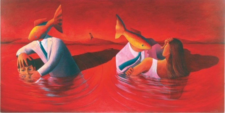 """Liliana Wilson's  """"Greed 2,"""" 2003, acrylic on canvas, 48 x 96 in., Collection of the artist."""