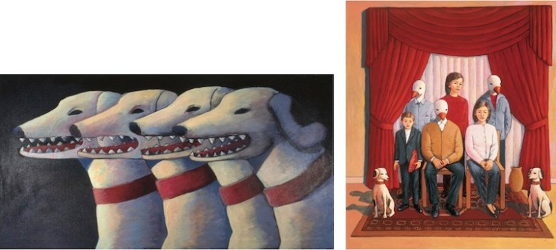 """Works by Liliana Wilson from left:  """"La junta de gobierno (The government junta),"""" 1995, acrylic on canvas, 15 x 30 in. and """"The Successful Family,"""" 1999, acrylic on panel, 25 x 19 in., Collection of Genevieve Vaughan."""