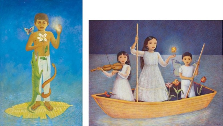 """Works by Liliana Wilson from left: """"Leonardo,"""" 2009, acrylic on canvas, 34 x 22 in., Collection of Dr. Giao Phang, and """"Niños immigrantes (Immigrant children),"""" 2015, color pencil on paper, 24 x 30 in."""