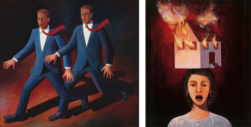 """Works by Liliana Wilson from left: """"Man Running from Himself,"""" 1991, acrylic on canvas, 60 x 48 in. and """"Mujer desesperada (Desperate woman),"""" 1999, acrylic on panel, 25 x 19 in."""