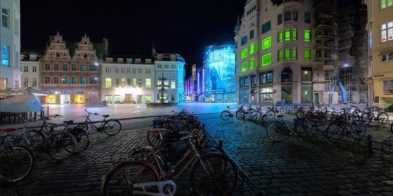 """Amagertorv. Copenhagen, Denmark,"" 2009, photographic transparency in backlit light box, 27 x 54 in. Courtesy image."