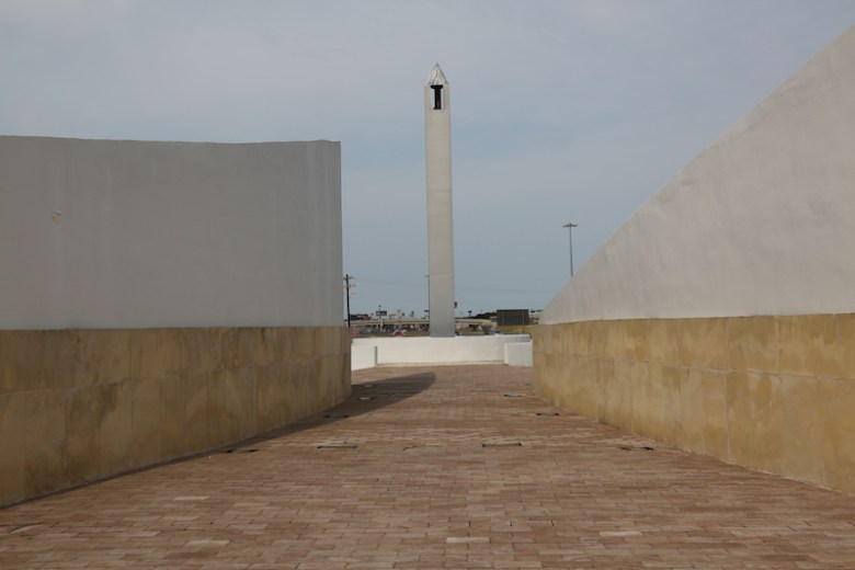 A three-sided steel pillar on the west end of the plaza honors those on board Flight 93 in Pennsylvania. Photo by Kay Richter.