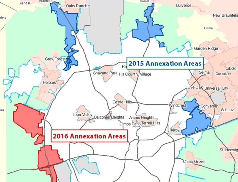 The City has begun public hearings on limited purpose annexation of three areas (in blue) and will soon do the same for the other two areas (in red). Courtesy/City of San Antonio
