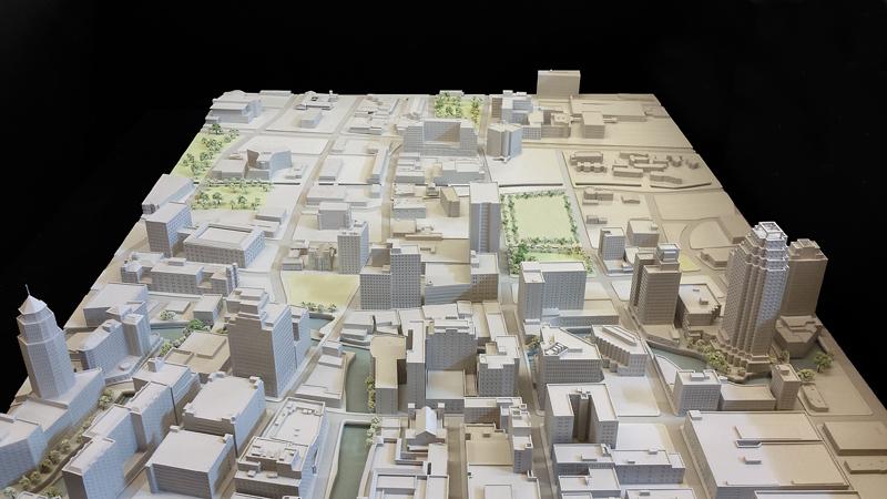 Contextual model of downtown San Antonio. Courtesy of Pelli, Clark, Pelli.