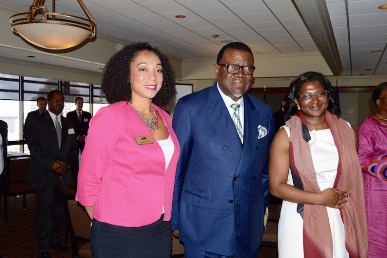 (From left) San Antonio Chamber of Commerce Representative Tuesdae Knight greets Namibian President Hage Geingob and First Lady Monica Kalondo during the FTSA meeting at The Plaza Club. Photo by Lea Thompson.